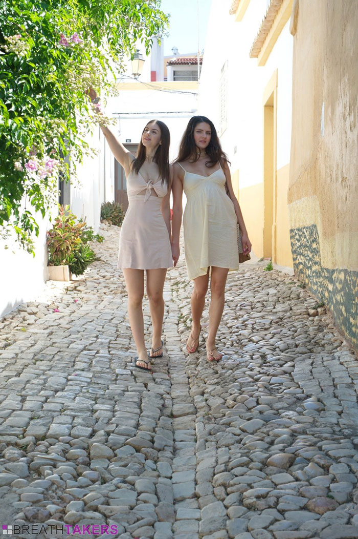 Lesbian lovers Francesca DiCaprio & Stella Cox flash upskirts while on holiday