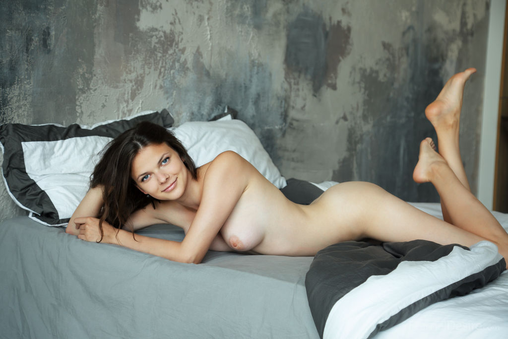 Hot Brunette Naked On Bed Erotic Photo