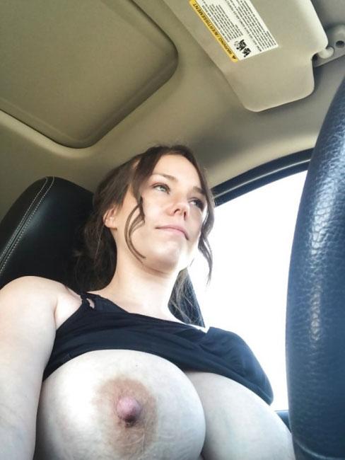 Girl Flashing In Car