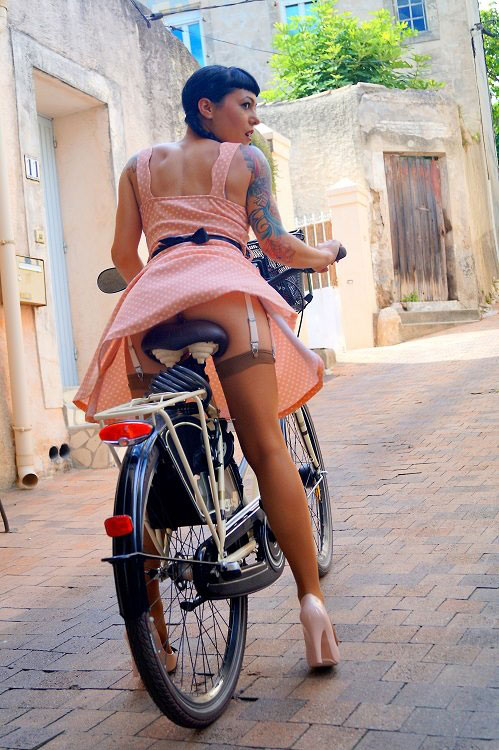 Sexy Chick Riding Bicycle
