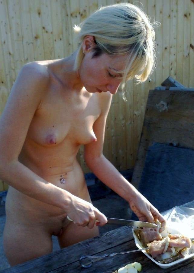 Nude Girl In Kitchen