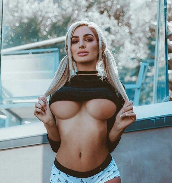 Naked Girl Showing Underboob