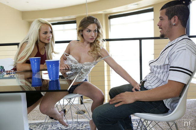 Threesome Sex With Two Blondie After While Playing Card Game