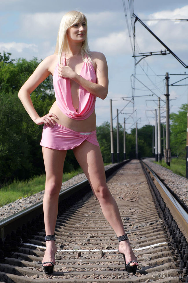 Hot Naked Blonde On The Rail Track Nude Photo