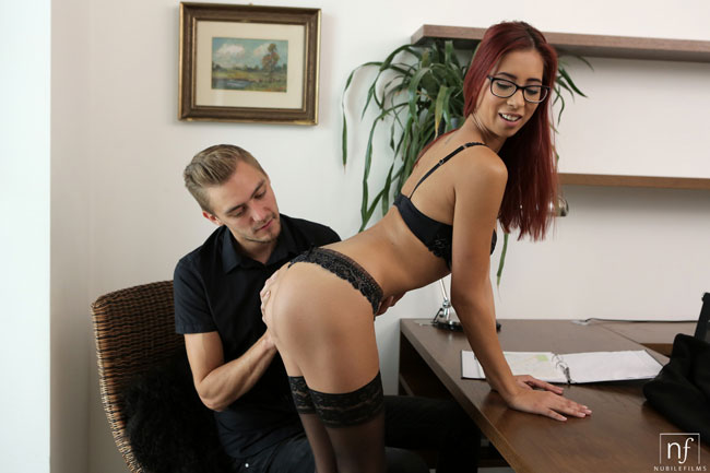 Nerdy Secretary Paula Fucks Her Boss At Office