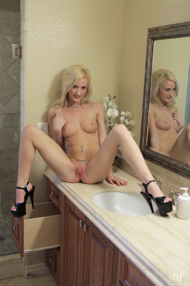 Skylar Green Stripping In The Bathroom