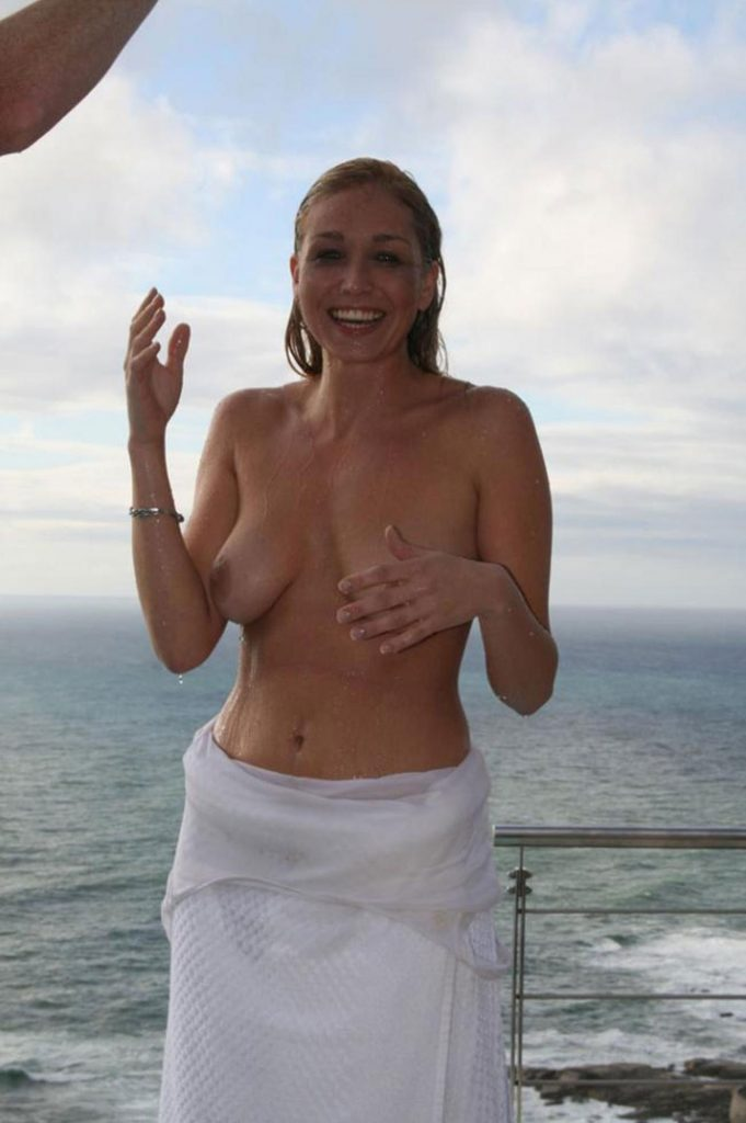 Happy Embarrassed Naked Girl