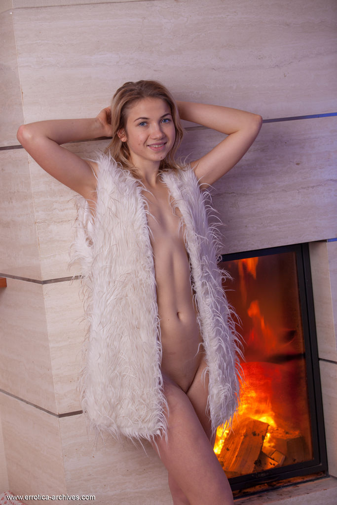 Lizette Gets Naked By The Fireplace