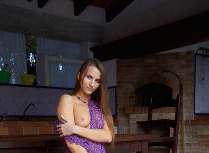 Stella Flex In Purple Dress Gets Naked