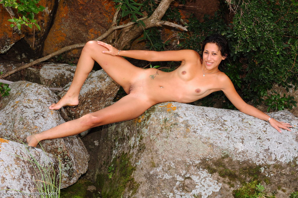 Hot Naked Girl At Waterfall