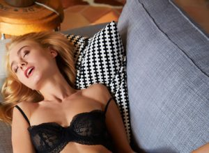 Nancy A. In Black Lingerie Gets Horny For Cock