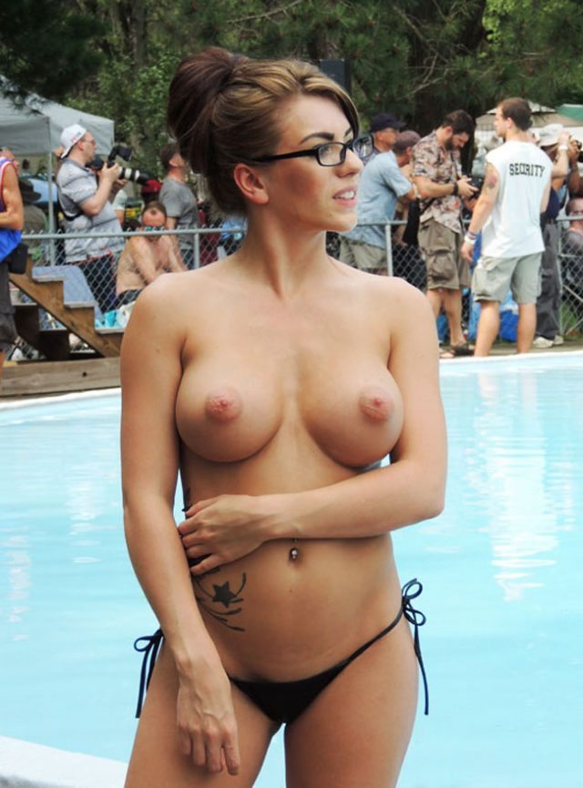 Nudist Babe With Glass