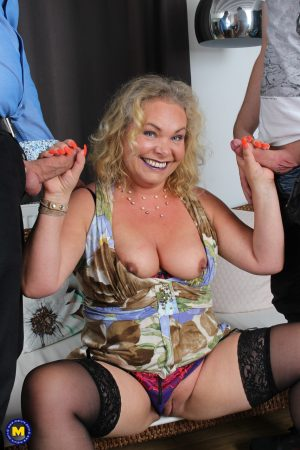Chubby blonde mature Francesca Kitten gets fucked by her hubby and her stepson