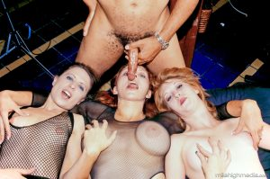 Sexy MILFs with strapons pegging doggystyle and sucking cock in group sex