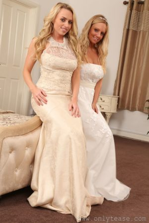 Sexy bridesmaids Holly Gibbons and Suzi strip and pose topless in lingerie