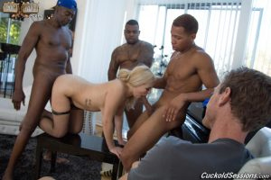 Blonde wife Summer Day opens her asshole for BBC penetration afore her cuckold 1