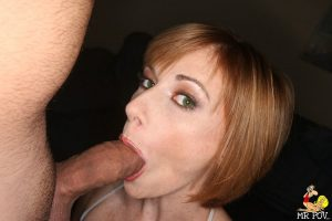 Sexy MILF Allison Wyte sticks out her pierced tongue for cum after fucking