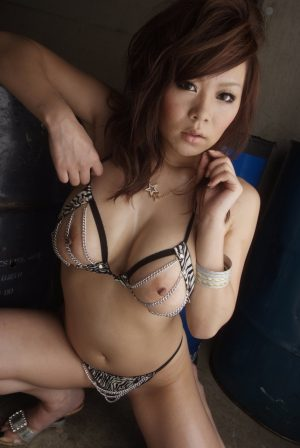Alluring Asian beauty Ren Mizumori poses in hot lingerie with big tits showing