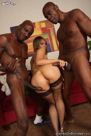 Blonde slut Aleska Diamond opens her mouth for black cum after a hard DP