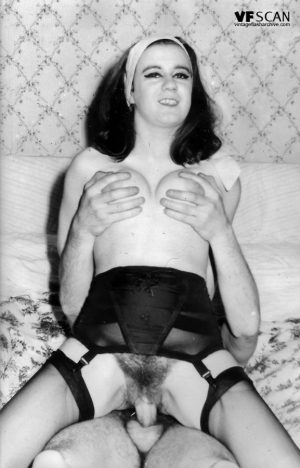 Vintage porn queens lifting their skirts to show off their hairy muff