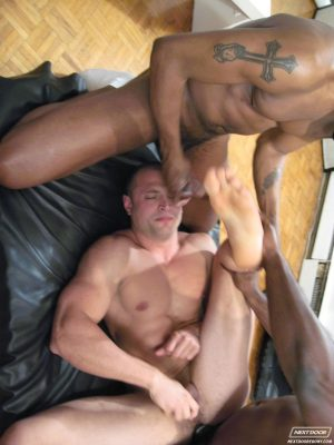 Muscular military gays strip and fuck each other in an interracial threesome