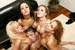 MILF Manuel gangs up with hot oiled police lesbians in blowing & riding a stud