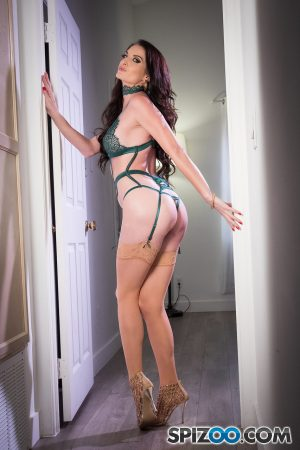 Long haired MILF Silvia Saige shows her slender body in exotic lingerie