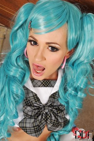 Amazingly lovely european doxy in cosplay outfit revealing her goods