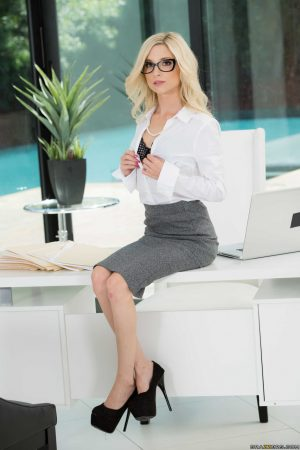 Petite Blonde Piper Perri strips and flaunts her slender body in the office