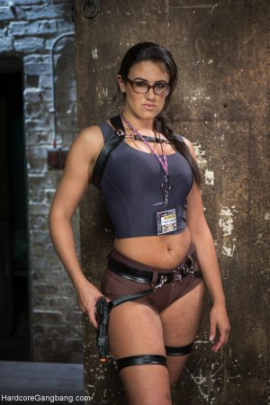 Sexy agent Penny Barber strips and showcases her monster curves