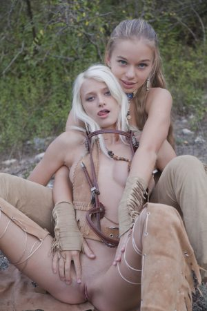 Blonde cowgirls Milena D & Nika N get off their horse and fuck in nature