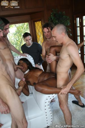 Long haired black girl gets gang banged by a bunch of white boys