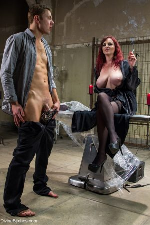 Huge boobed femdom Mz Berlin gets her asshole licked out by her tied up slave