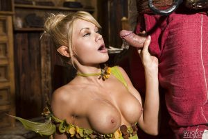 Blonde cosplay pornstar Riley Steele giving bj and handjob for cum on tits