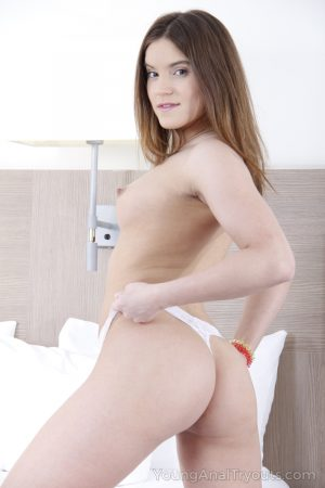 Young brunette Karolin goes ass to mouth in white ankle socks