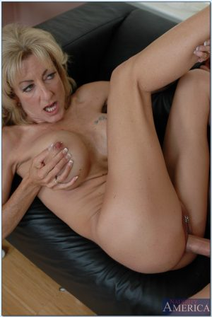 Skinny mature blonde Demi Dantric gets her pierced pussy eaten out and fucked