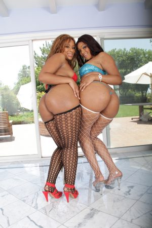 Ebony MILFs with big butts Blue Diamond and La Fobooty got one dick for two