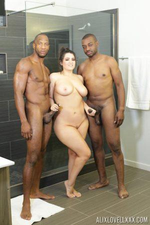Plump white girl Alix Lovell tugs on big black dicks outside a shower