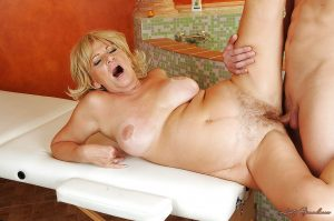 Curvy blonde garnny gets shagged tough and takes a cumshot on her saggy tits