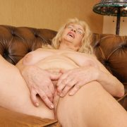 Big boobed granny Jarna fingering her fuzzy pussy and tight butthole