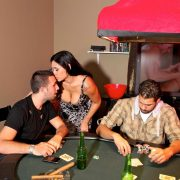 Huge boobed MILF Raylene interrupts poker game and fucks young fella