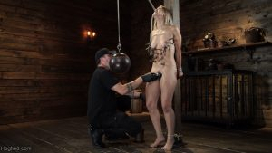 Tied up Latina teen Alina Lopez gets toyed while hanging from the ceiling