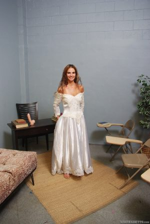 Clothed bride Sindy Rose showing off upskirt ass in wedding dress