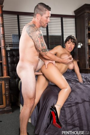 Busty centerfold Luna Star ends a hardcore fuck with a cumshot on her big tits