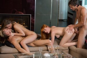 Open minded wives Capric & Anny Aurora swap partners during a foursome