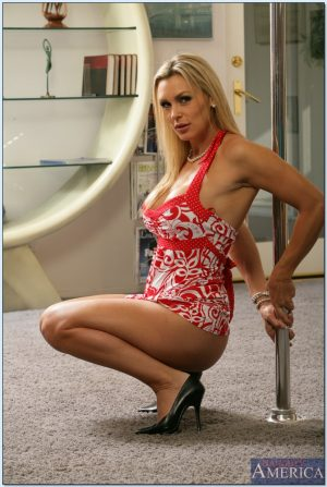 Mature blonde cougar Deauxma strips on the pole & gets banged & basted