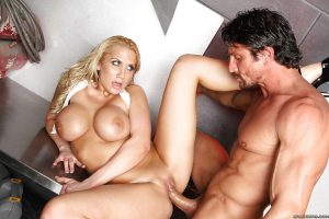 Hot blonde with shapely boobs Alanah Rae takes facial after anal sex