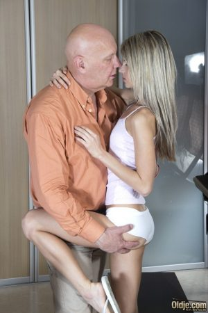 Teen Gina Gerson sucks an old man's rod & fucks in a reverse cowgirl position