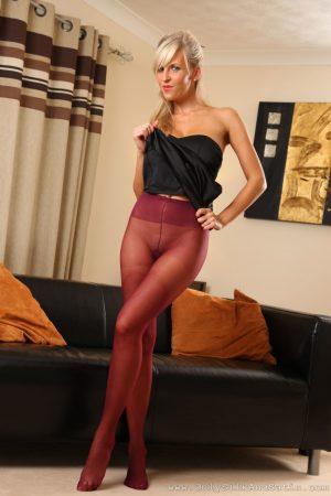 Slender 33yo babe Cikita exposes her wonderful boobs in sheer pantyhose