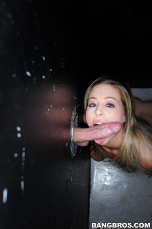 Petite blonde Zoey Monroe drives a big dick deep in her pussy at a gloryhole